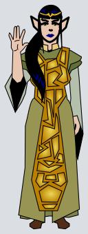 An Haephestian female in formal costume demonstrating the traditional Haephestian greeting.